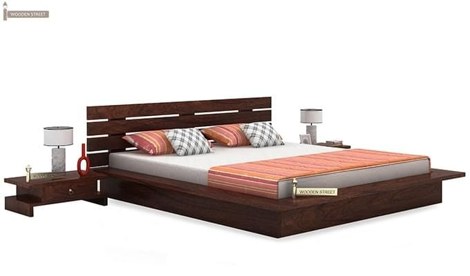 Dwayne Low Floor Platform Bed (Queen Size, Walnut Finish)-1
