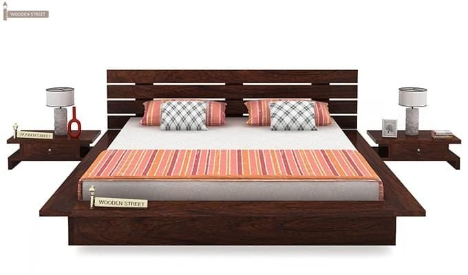 Dwayne Low Floor Platform Bed (Queen Size, Walnut Finish)-3