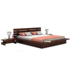 Dwayne Low Floor Platform Bed (Queen Size, Walnut Finish)