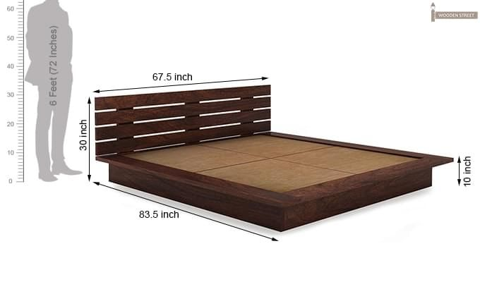 Dwayne Low Floor Platform Bed (Queen Size, Walnut Finish)-8