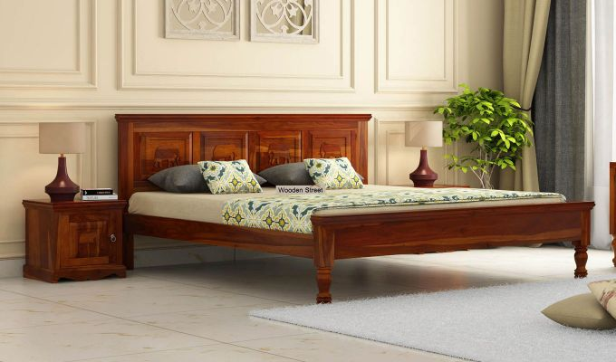 Emboss Bed Without Storage (Queen Size,Honey Finish)-1