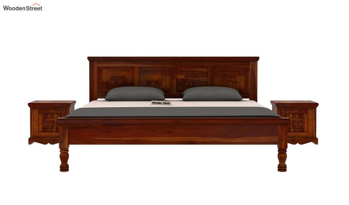 Emboss Bed Without Storage (Queen Size,Honey Finish)-3