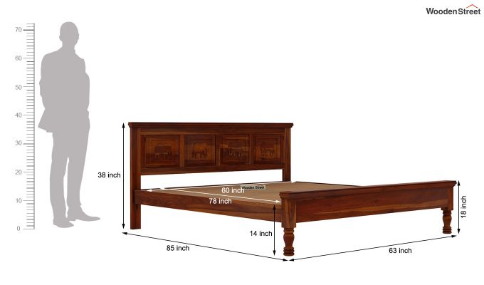 Emboss Bed Without Storage (Queen Size,Honey Finish)-7