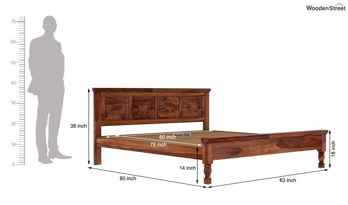 Emboss Bed Without Storage (King Size,Honey Finish)-7