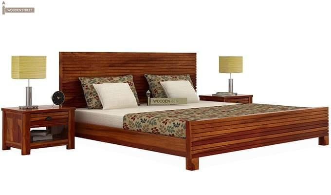 Felner Bed Without Storage (Queen Size, Honey Finish)-1