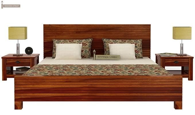 Felner Bed Without Storage (Queen Size, Honey Finish)-2