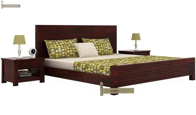 Felner Bed Without Storage (Queen Size, Mahogany Finish)-1