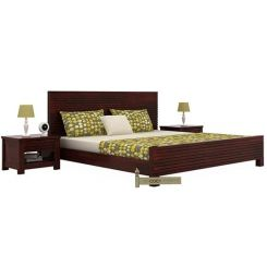 Felner Bed Without Storage (Queen Size, Mahogany Finish)