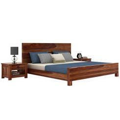 Felner Bed Without Storage (King Size, Teak Finish)
