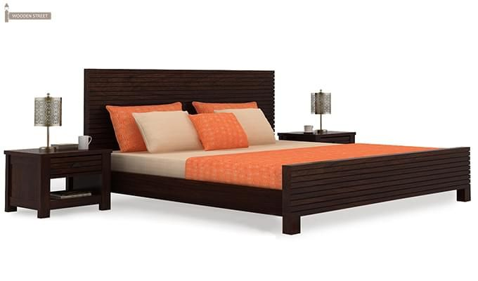 Felner Bed Without Storage (Queen Size, Walnut Finish)-2