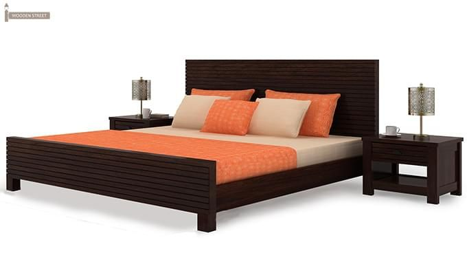 Felner Bed Without Storage (Queen Size, Walnut Finish)-4