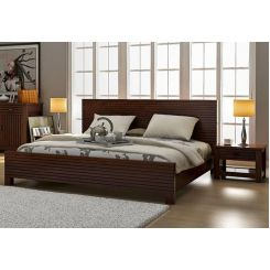 Felner Bed Without Storage (Queen Size, Walnut Finish)
