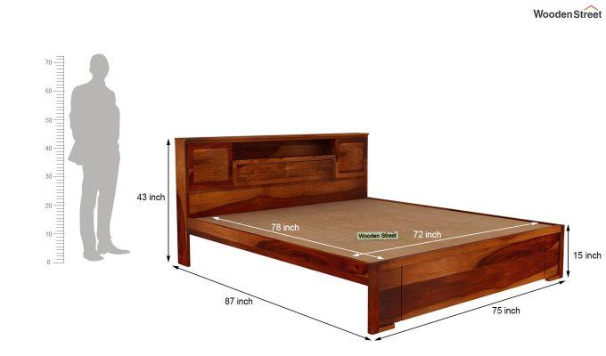 Ferguson Bed Without Storage (King Size, Honey Finish)-5