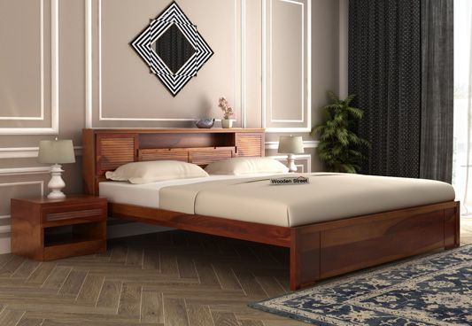 Ferguson Bed Without Storage (King Size, Honey Finish)