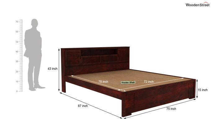 Ferguson Bed Without Storage (King Size, Mahogany Finish)-5