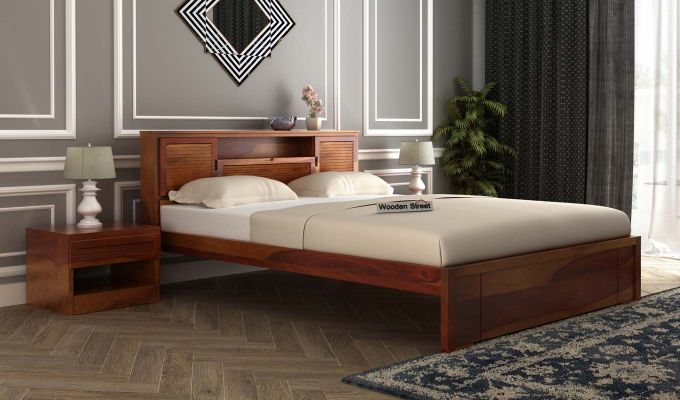 Ferguson Bed Without Storage (Queen Size, Honey Finish)-1