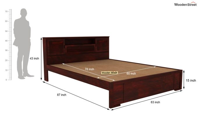 Ferguson Bed Without Storage (Queen Size, Mahogany Finish)-5