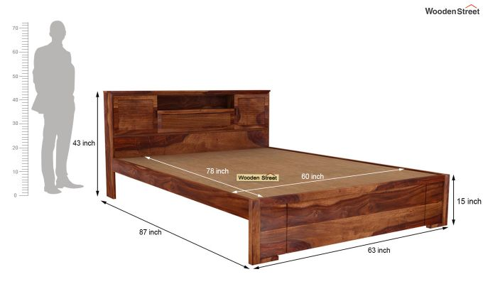 Ferguson Bed Without Storage (Queen Size, Teak Finish)-5