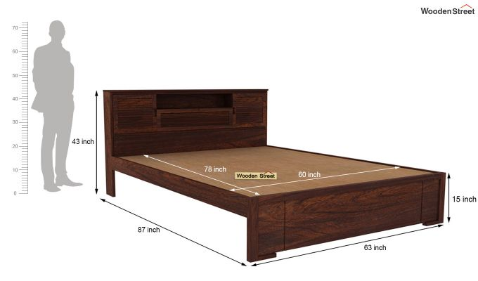 Ferguson Bed Without Storage (Queen Size, Walnut Finish)-5
