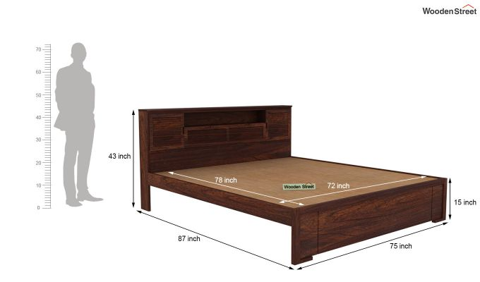 Ferguson Bed Without Storage (King Size, Walnut Finish)-5