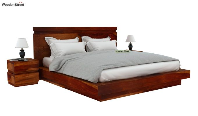 Florian Bed Without Storage (King Size, Honey Finish)-2