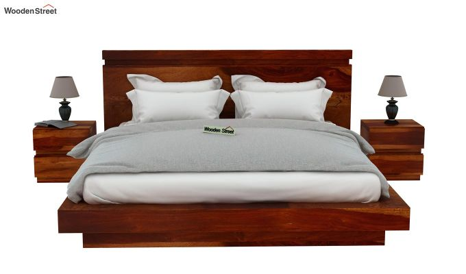 Florian Bed Without Storage (King Size, Honey Finish)-3