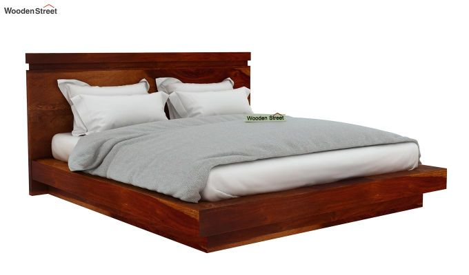 Florian Bed Without Storage (King Size, Honey Finish)-5