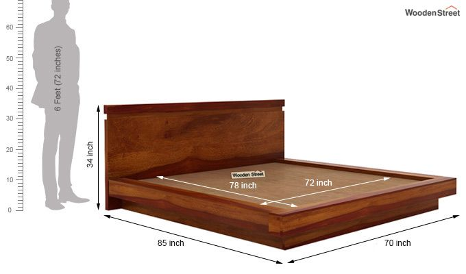 Florian Bed Without Storage (Queen Size, Honey Finish)-7