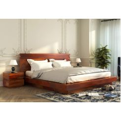Florian Bed Without Storage (King Size, Honey Finish)
