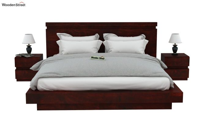 Florian Bed Without Storage (Queen Size, Mahogany Finish)-3