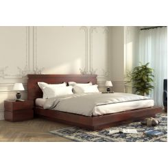 Florian Bed Without Storage (Queen Size, Mahogany Finish)
