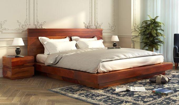 Florian Bed Without Storage (King Size, Honey Finish)-1