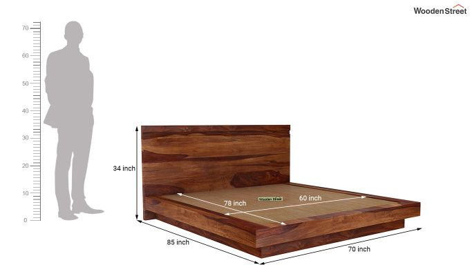 Florian Bed Without Storage (Queen Size, Teak Finish)-7