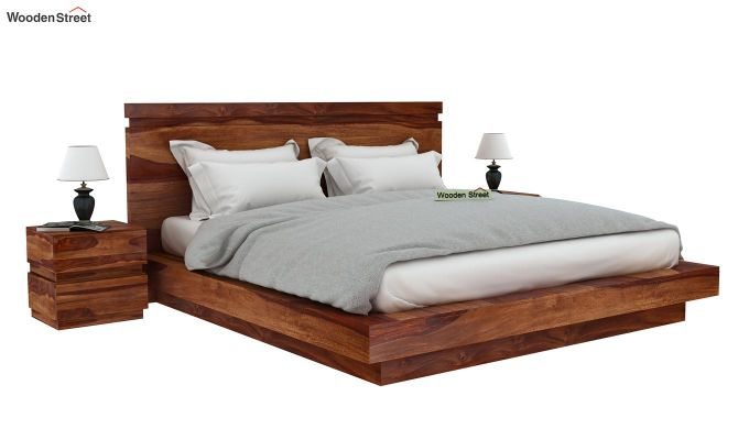 Florian Bed Without Storage (Queen Size, Teak Finish)-2