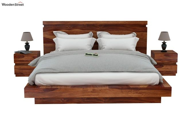 Florian Bed Without Storage (Queen Size, Teak Finish)-3