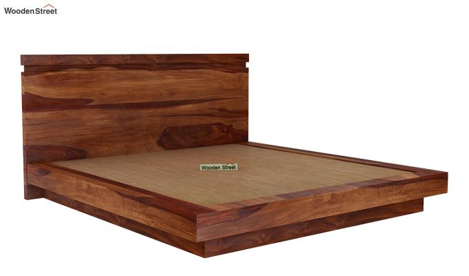 Florian Bed Without Storage (Queen Size, Teak Finish)-4