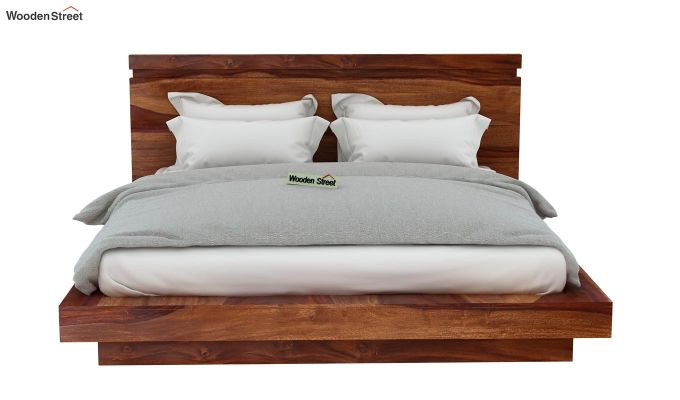 Florian Bed Without Storage (Queen Size, Teak Finish)-6