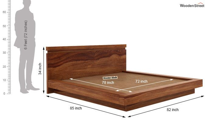 Florian Bed Without Storage (King Size, Teak Finish)-7