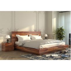 Florian Bed Without Storage (King Size, Teak Finish)