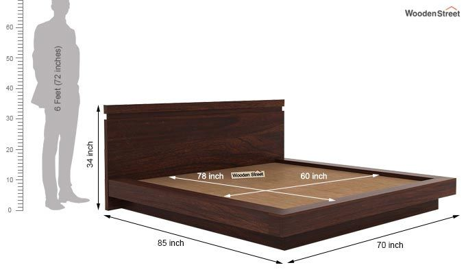 Florian Bed Without Storage (Queen Size, Walnut Finish)-7