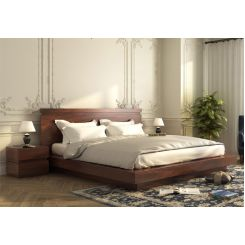 Florian Bed Without Storage (King Size, Walnut Finish)