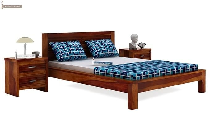 Gayle Bed Without Storage (Queen Size, Honey Finish)-1