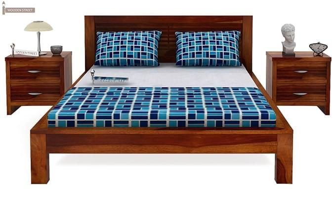 Gayle Bed Without Storage (Queen Size, Honey Finish)-2