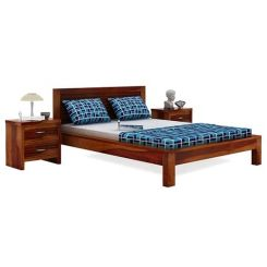 Gayle Bed Without Storage (Queen Size, Honey Finish)