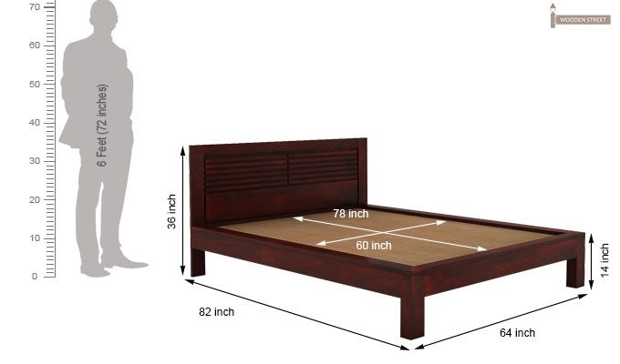 Gayle Bed Without Storage (Queen Size, Mahogany Finish)-5