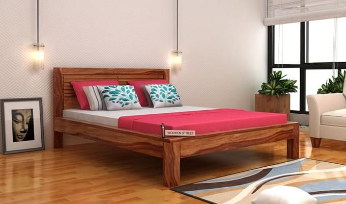 Gayle Bed Without Storage (King Size, Teak Finish)-1
