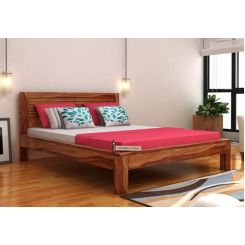 Gayle Bed Without Storage (Queen Size, Teak Finish)