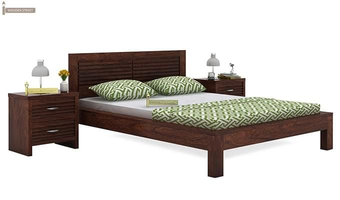 Gayle Bed Without Storage (Queen Size, Walnut Finish)-1