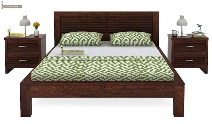 Gayle Bed Without Storage (Queen Size, Walnut Finish)-2