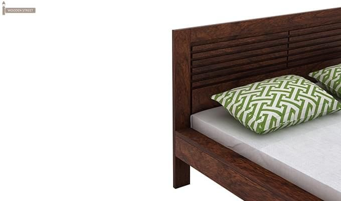 Gayle Bed Without Storage (Queen Size, Walnut Finish)-5